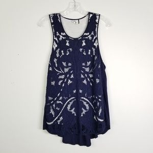 Akemi Kin L Navy Blue Lace Overlay Tank Top 0065
